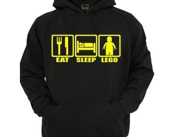 Eat Sleep Lego Hoodie, boys/Girls Hoodie sizes 5-13 years,children's black hoodie