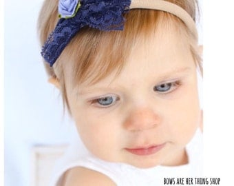 LITTLE DARLING lace rose bow