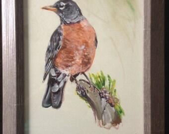 "Michigan Robin Painting, 8""x10"""