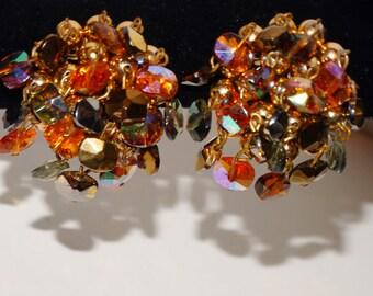 Vintage VOGUE RARE Unique  Iridescent Earrings.