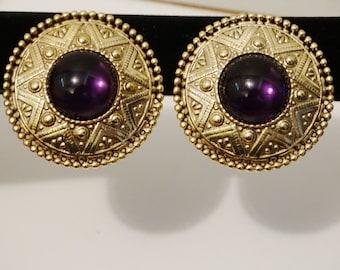 "Vintage Gold Tone Large Purple Cabochon Stone 1.5"" diameter Earrings."