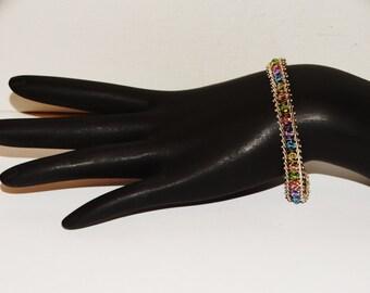 """Vintage Sterling MO-84 925 Mex. Signed Multicolor 7"""" Bracelet."""