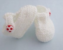 Knitted white baby football booties T Bar shoes 0-3 months