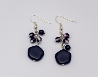 Earrings with czech glass beads and pendant