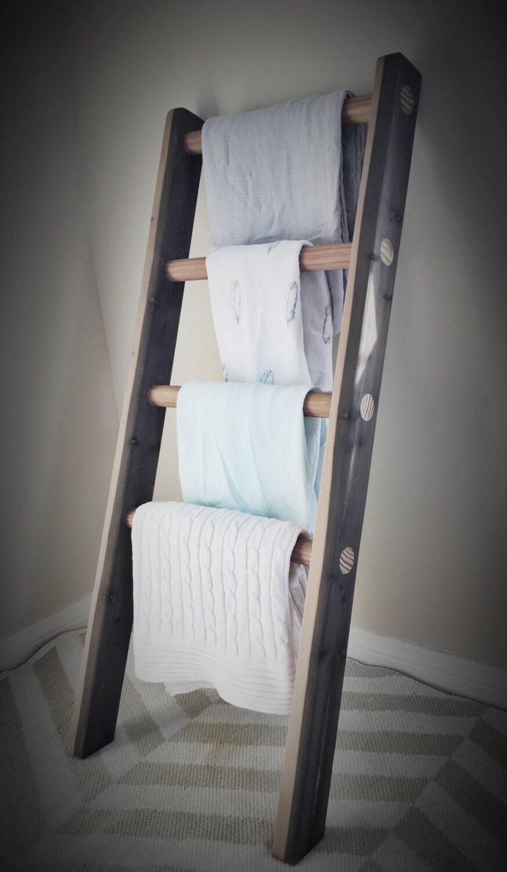 Wooden Blanket Ladder Baby Blanket Storage Rustic Natural
