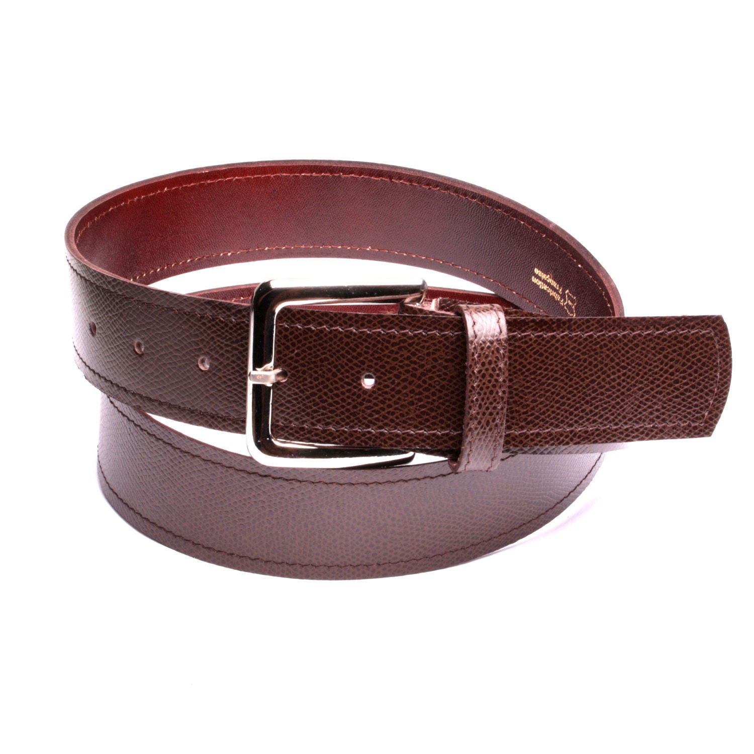 brown leather belt and soft leather lining handmade