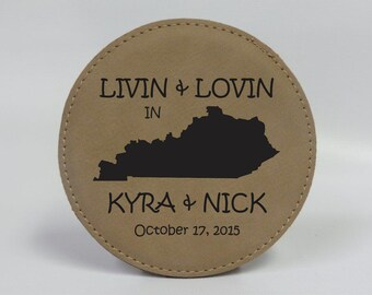 Personalized Round Leather Coasters Laser Engraved, Wedding gift, Personalized gift, Engraved State