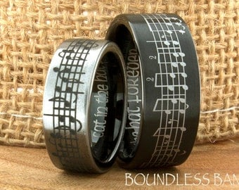 Tungsten Music Wedding Band Favorite Song Black And White Tungsten Ring Any Music Sheet Laser Engraving Band His Hers Customized Music Ring