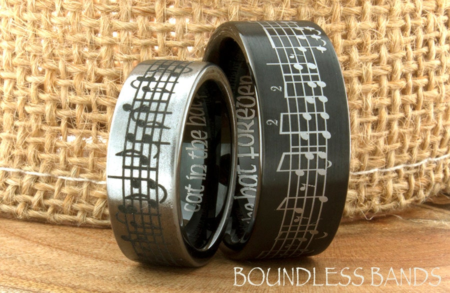 Music Wedding Ring Tungsten Wedding Band Your By BoundlessBands