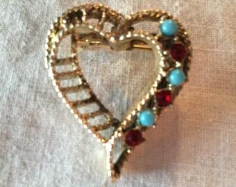SALE  **** Vintage Gerry's Heart Brooch.