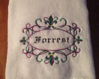 Just married wedding yard flag - Fleur de lis bath towels ...