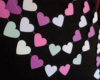 ICE PRINCESS:  Glittery Mini Heart Garland – Party, Wedding, Shower, Nursery, Room Decoration