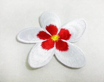 White & Red  PlumeriaI Iron on Patch /Frangipani Flower/ Flower Patch /Embroidered Flower Iron on Patch / Flower Applique (6.6x6.7 cm)