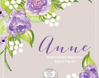 Watercolor Rose clipart, Purple flower clipart, Purple Flower, Leaf clipart,  Wedding Clip Art, wedding invitation, watercolor flower