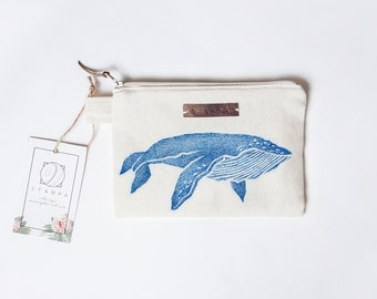 Whale Zipper Jewelry Pouch, Pencil Case, Purse, Cosmetic bag with handmade print