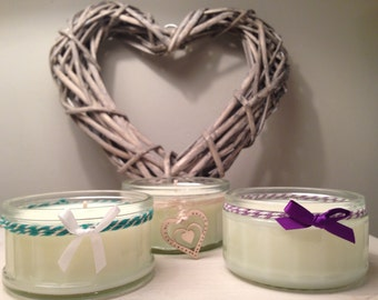 Small Scented Soy Candle, Handmade and Decorated in Sussex; Lime Mandarin Basil, Fresh Linen and Lemongrass Fragrances or Festive Christmas!
