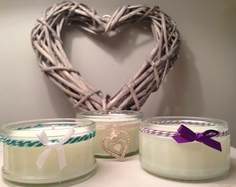 Small Scented Soy Candle, Handmade and Decorated in Sussex; Lime Mandarin Basil, Fresh Linen and Lemongrass Fragrances
