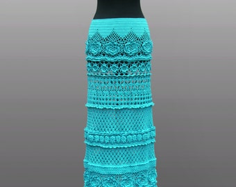 Crochet skirt Noa. Turquoise floor length cotton crochet skirt. Made to order.