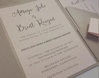 Wedding Invitation Suite, Wedding Invitation, Pocket Wedding Invitation, Champagne and Blush, Script, Pocket Fold, Calligraphy