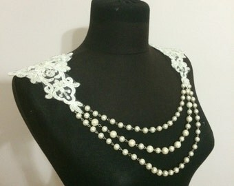 Shoulder Jewelry with Lace and Pearl, Shoulder Necklace, Wedding Shoulder Jewelry, Bridal Shoulder Necklace
