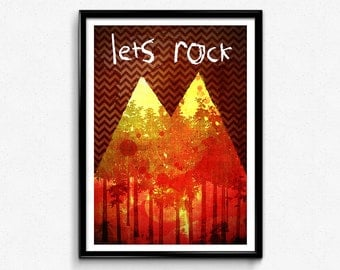 Twin Peaks // Let's Rock, Special Agent Dale Cooper, Laura Palmer, The Red Room, David Lynch Poster, Twin Peaks Print, Twin Peaks Poster