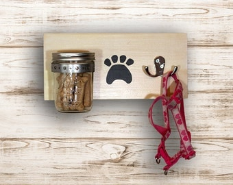 Mason Jar Dog Organizer  |  Dog Leash and Treat Holder  |  Dog Lease Holder  |  Dog Treat and Leash Holder  |  Pet Organizer  | Leash Holder