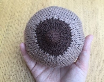 Knitted Breast Knitted Boob for Breastfeeding Support - Tan & Brown