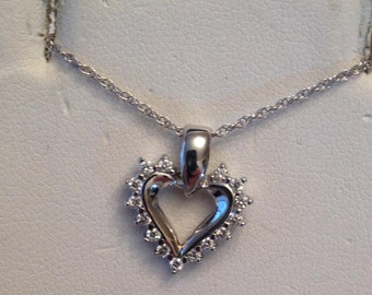 "Vintage 14k white gold  14 Diamond Open Heart Pendant, .22 tw HI-I1 on 18"" chain"