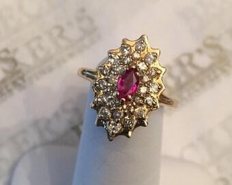 Beautiful vintage 14k yellow gold Marquise Ruby & 26 Diamond Scalloped Halo Ring, .79 tw JK-I1, size 6.75
