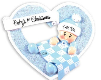 Personalized Heartily Yours Baby's First Christmas Ornament - Boy