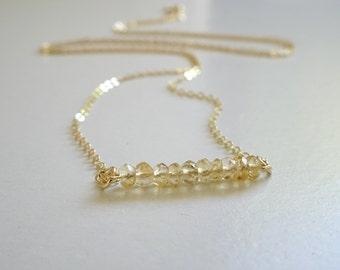 Citrine Necklace, Ultra delicate faceted citrine pendant, November birthstone necklace, natural citrine pendant