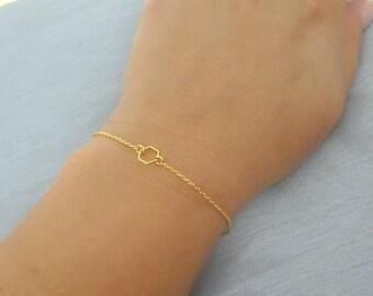 Tiny Gold Hexagon Bracelet, Honeycomb bracelet, Geometric Bracelet, Bridesmaids gold, silver, rose gold Bracelet