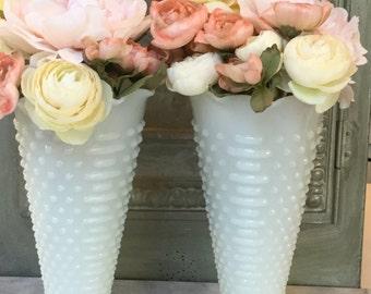 Milk Glass Hobnail Vases / Pair of  Anchor Hocking Milk Glass Vases