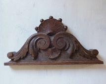 ANTIQUE French carved WOOD PEDIMENT for decoration 5.91 x 11.81 inches
