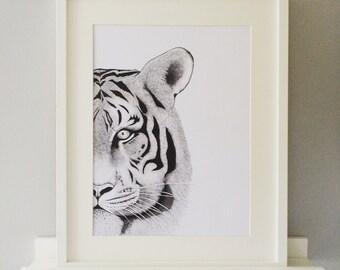 Tiger Tiger, Stappled  illustration, dots, A3 size Print, Ltd Signed Edition