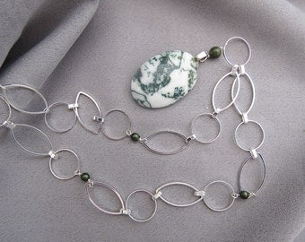 Green and White Tree Agate Necklace/Pendant/Gift