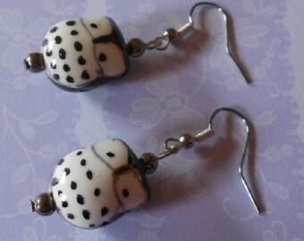Handmade earrings, black porcelain owl