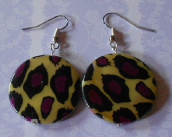 Handmade earrings with animal print shell beads, nickel free