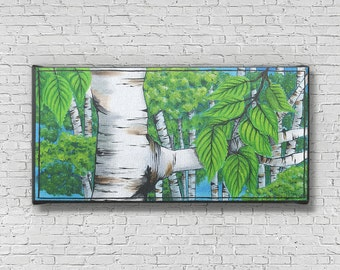 Birch Tree Art - Birch Bark - Colorful Nature Artwork - Birch Tree Art Prints - Nature Decor - Nature wall art - Birch Tree Painting