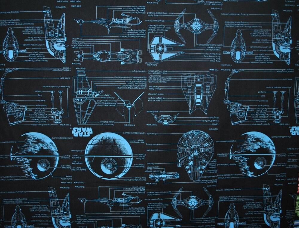 Star wars fabric blue prints on black 73010110 star wars for Star wars fabric