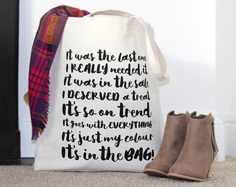 Canvas Tote Bag / Shopping Bag / Cotton Tote Bag 'It's in the Bag'