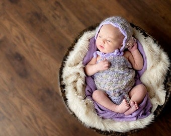 Baby Romper Crochet.Baby Strapless Romper with matching Bonnet.Baby bonnet Photo Prop.Baby Gift