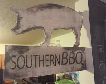 Wooden Pig BBQ Sign