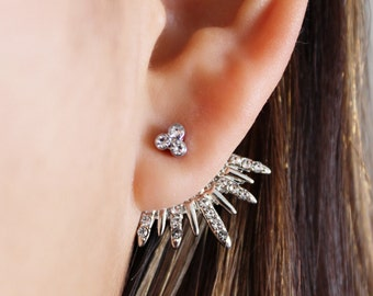 Silver Ear Jackets + Sparkly Spikes - silver ear jacket/ ear jacket spike/ ear jacket silver/ ear jacket earring/ birthday/ gifts for her