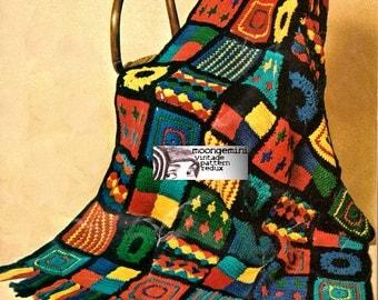 Crochet Afghan Blanket Throw Vintage 60s Pattern Great Scrap Leftover Yarn Project PDF