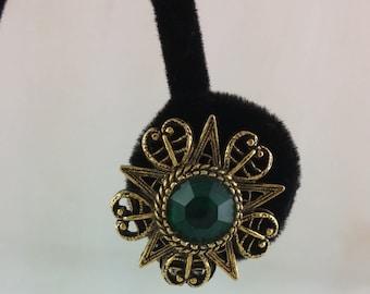 Vintage Clip On Earrings, Green Rhinestone