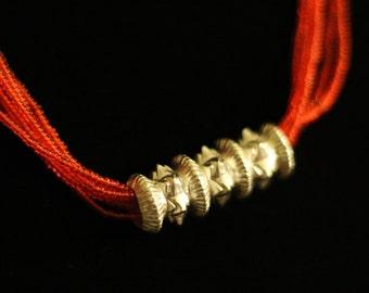 Silver Nepali Tilri in Red or Green or Black Poth or Multicolor Poth / Necklace