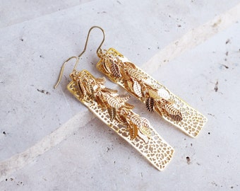Gold bar earrings, gold leaf earrings, gold dangle earrings, long gold earrings