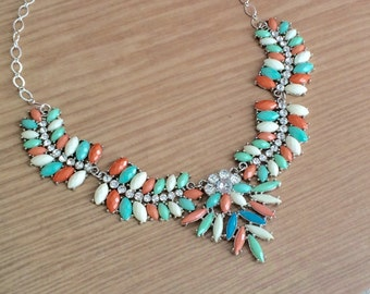 Multicoloured Statement Necklace, Silver Statement Necklace, Turquoise Statement Necklace, Designer Inspired Necklace, Chunky Necklace