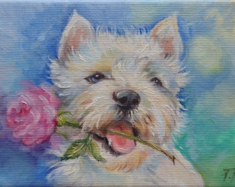 White terrier, DOG PORTRAIT, Original Oil Painting on canvas, Hand painted miniature, Framed pet portrait, Dog with rose